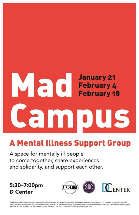 Mad Campus Mental Illness Support Group Flyer