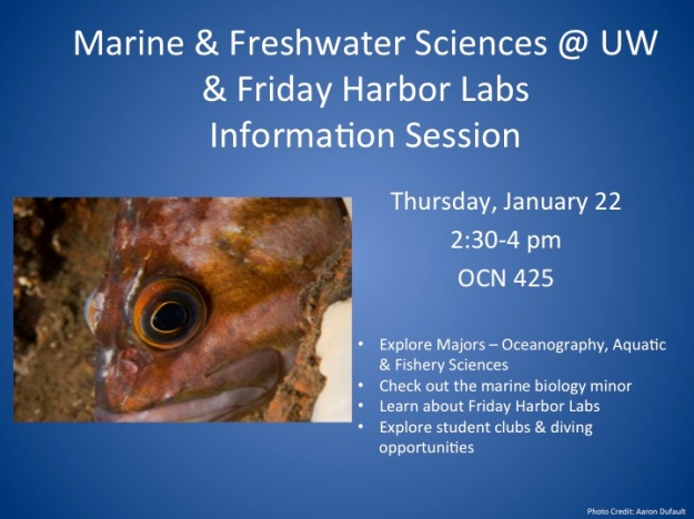 Marine & Freshwater Sciences at UW Info Session Flyer