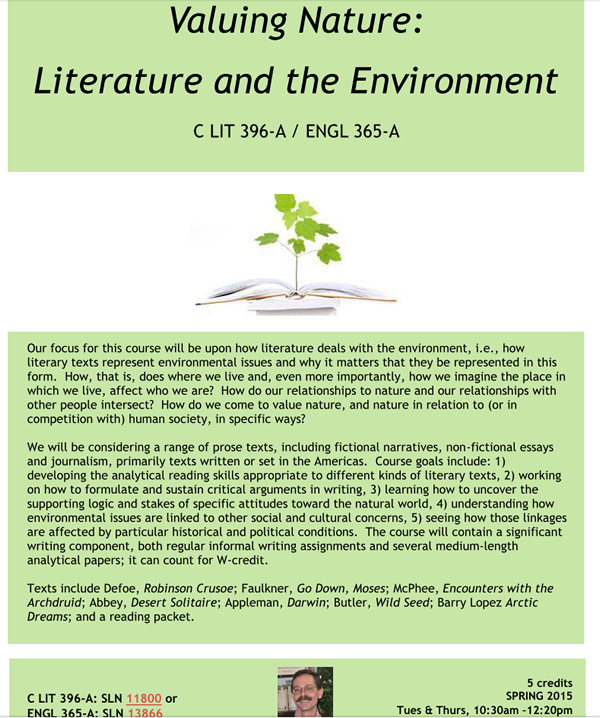 Literature and the Environment Course Flyer