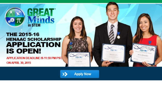 Great Minds in SSTEM HENAAC Scholarship Banner 2015-2016