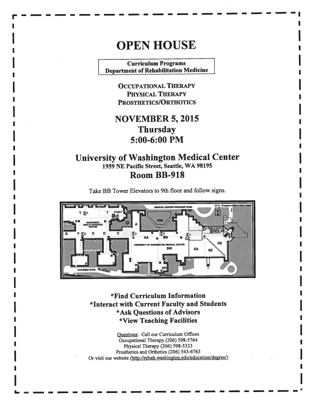 UW Rehabilitation Medicine Open House Flyer 2015